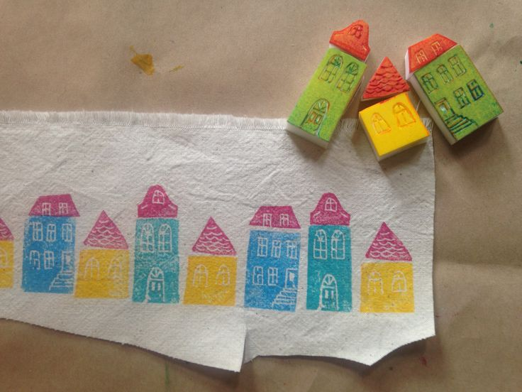houses - block prints