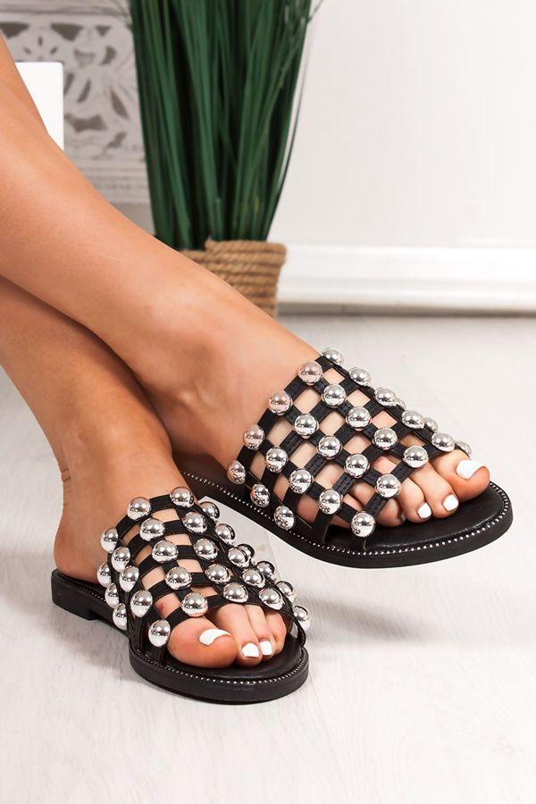 Venus Black Stud Slider Sandals With