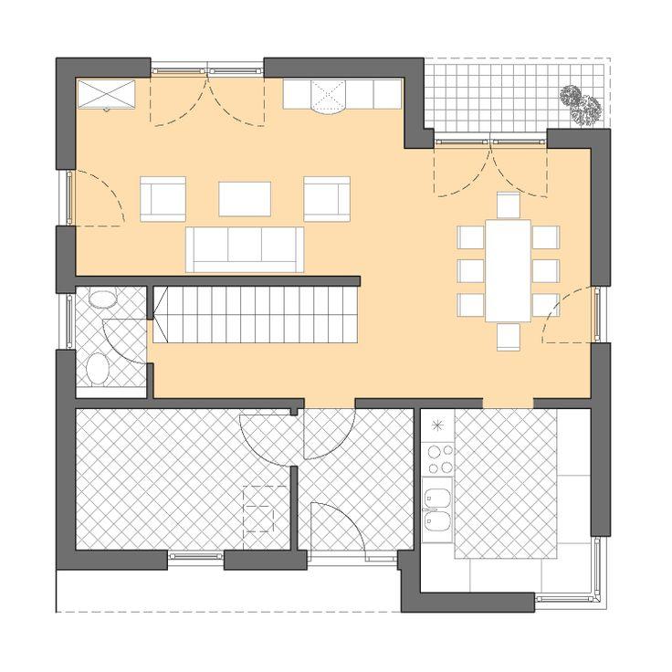 Moderne Häuser | Cubatur 145, Grundriss Erdgeschoss