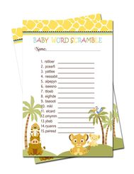 Simba Lion King Baby Shower Games Word Scramble