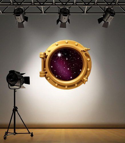 Full colour brass porthole stars outer space galaxy boys kids bedroom wall sticker decal decoration