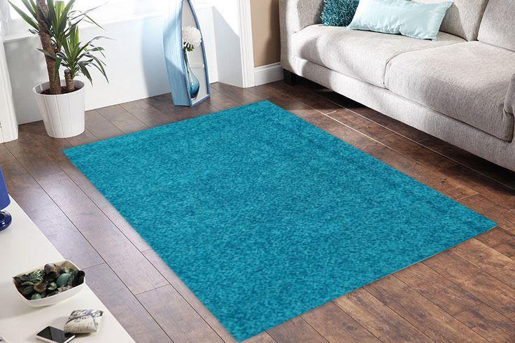 KING SHAGGY RUG 8216 Aqua Blue Modern Designer Shag Floor FREE DELIVERY*