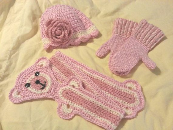 Check out this item in my Etsy shop teddy bear scarf flower hat mittens  Hat with flower, animal scarf, winter 3 piece set https://www.etsy.com/listing/215446501/set-of-crochet-hat-scarf-and-mittens-hat