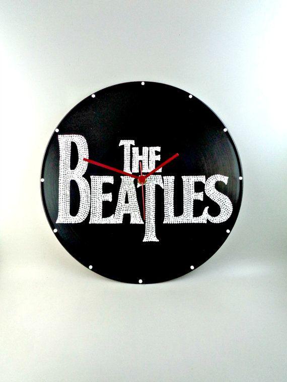 The Beatles Band Logo Vinyl Clock Hand Painted by InsaneDotting
