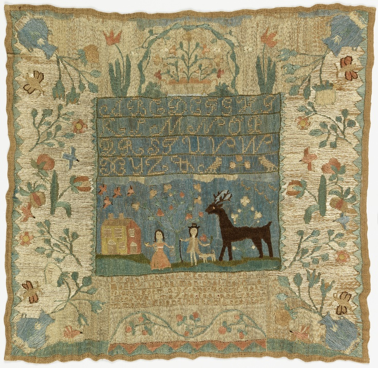 The inscription reads: Lydia Stocker Age 13 1798 Happy is the Man that hath a friend Form'd by the God of Nature Well may he feel and recommend Friendship to his creator Embroidery covers the entire surface.