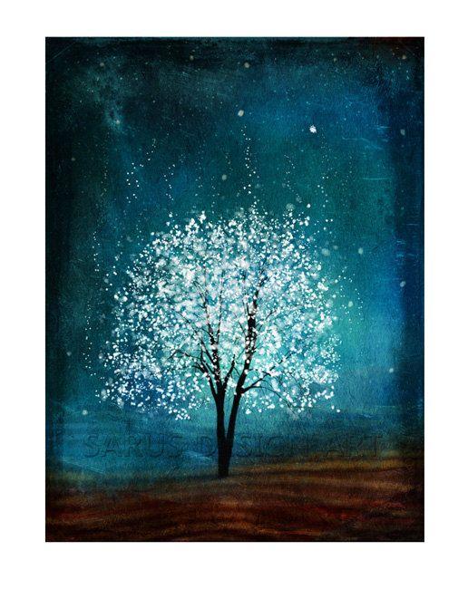 Geist der Wasser–11 x 14-Weihnachten-Geschenke-Baum-Art-print Giclée-Druck, Kunst, Baum Art, Druck, Geschenk, Art und Collectibles, Wandkunst, Wand-Dekor, Wand-Dekor