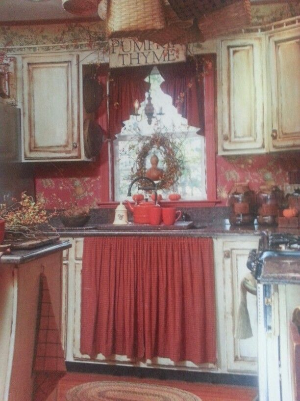 Prim kitchen ready for Fall gatherings ~ Country Sampler ~ September 2012