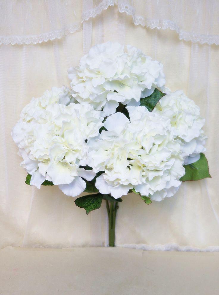 "JennysFlowerShop 18"" Super Soft Silk Hydrangea Artificial Flower Bush (5-stem, 5 mop Heads), with No Pot White by JennysFlowerShop on Etsy https://www.etsy.com/listing/222217489/jennysflowershop-18-super-soft-silk"
