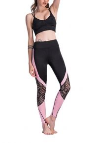 Breathable Black Splicing Lace Workout Leggings Elastic Waistband