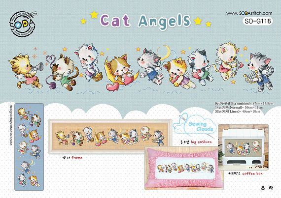 Ehi, ho trovato questa fantastica inserzione di Etsy su https://www.etsy.com/it/listing/540068651/cat-angels-schema-punto-croce-sodastitch