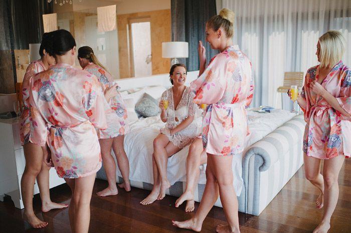 Shelly & Craig – Villa Vivante Wedding, Bridesmaids getting ready in the stunning master bedroom - Coffs Harbour Wedding Photographer | David Moore