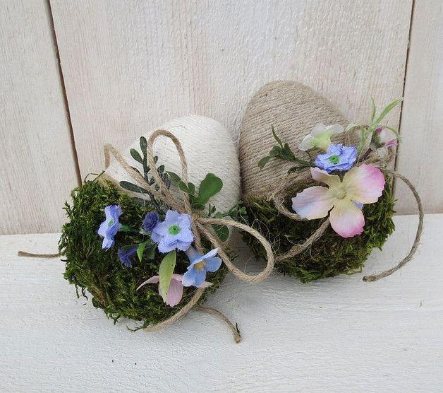 Dwie pisanki sznurkowe Błękitne kwiaty - Artan - Pisanki