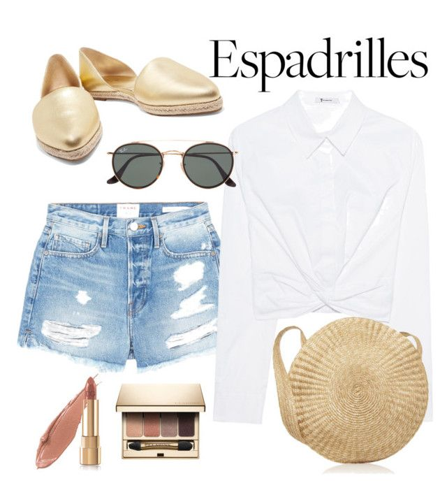 """""""Espadrille Gold!"""" by alana-alford on Polyvore featuring Michael Kors, Frame, T By Alexander Wang, Clarins, Ray-Ban, Estée Lauder and Dolce&Gabbana"""
