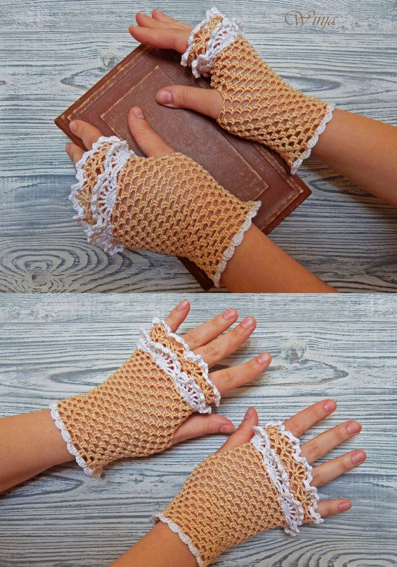 Wedding fingerless gloves Crochet mitts Cotton by OnGoodLuck