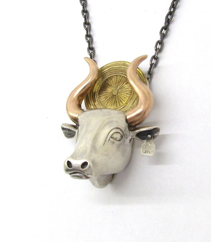 """""""BULL"""" Pendant from Sirkel Jewellery. Sterling silver, 9K red and 18K yellow gold."""