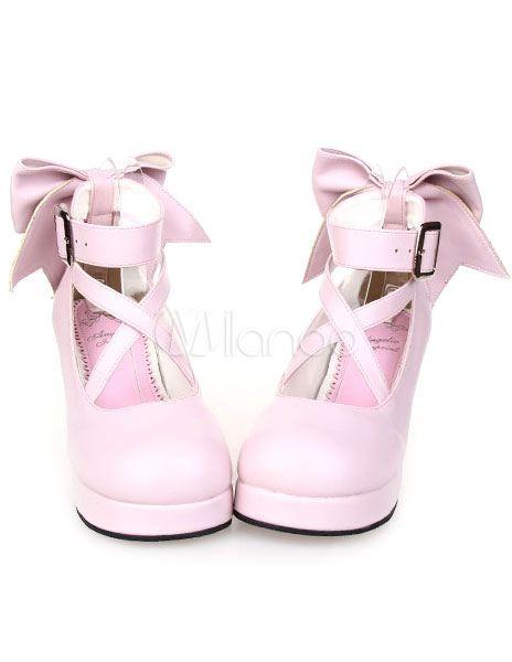 Sweet Platform Heels Lolita Shoes Ankle Straps Bow Deco Round Toe