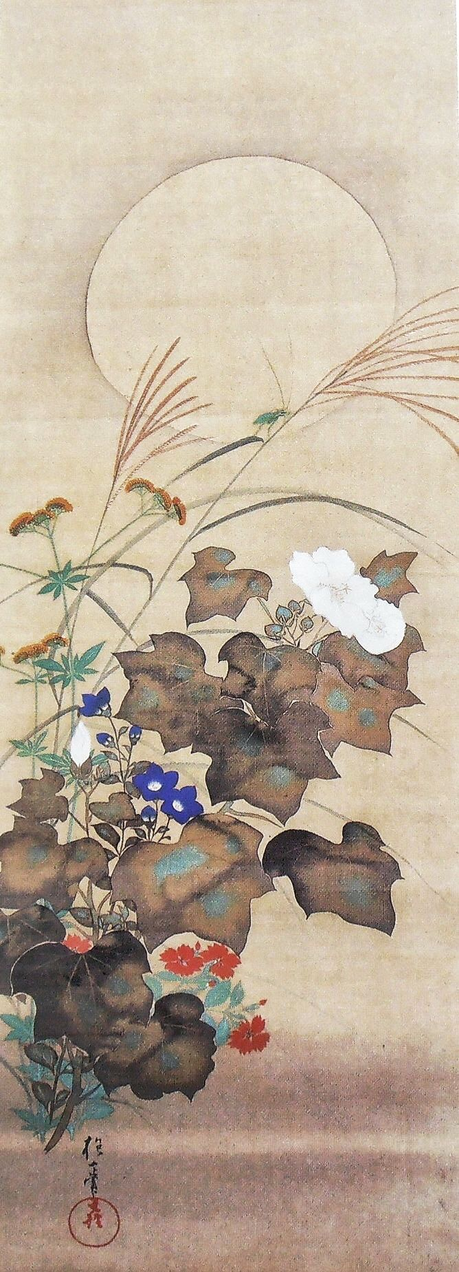 Sakai Hōitsu (酒井 抱一, 1761-1828). One of a set: Flowers and Birds of the Twelve Months (Jûnikagetsu Kachô zu, 十二か月花鳥図). Japanese hanging scroll. Early nineteenth century. Etsuko and Joe Price collection.