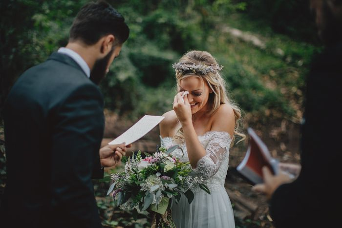Outdoor ceremony & that dress!