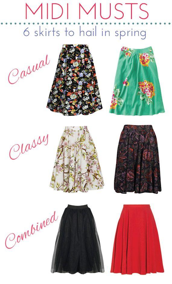 Midi Skirts for Spring