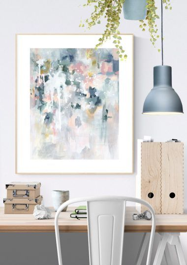 """Abstract art print in pastel blues and greys in Scandinavian home office interior. """"Sage For Days II"""" by Kate Fisher."""