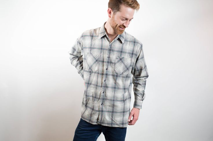 Vintage Cotton Flannel Shirt / Deep North Brand Plaid Shirt / Mens Large Size Cream and Blue Checkered Outdoors Shirt / Button up Camper by PrincipalVintage on Etsy