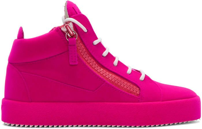 Giuseppe Zanotti Pink Flocked May London High-Top Sneakers   High Fashion   High End Sneakers   Fashion   Sneakerhead #ssc #ad #pinksneakers #sneakers #streetstyle #highfashion #style #Pink #shoes
