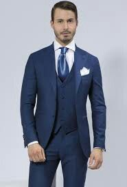 I want my fiance to wear this on our day, navy blue suit, vest and tie. With a white shirt :)