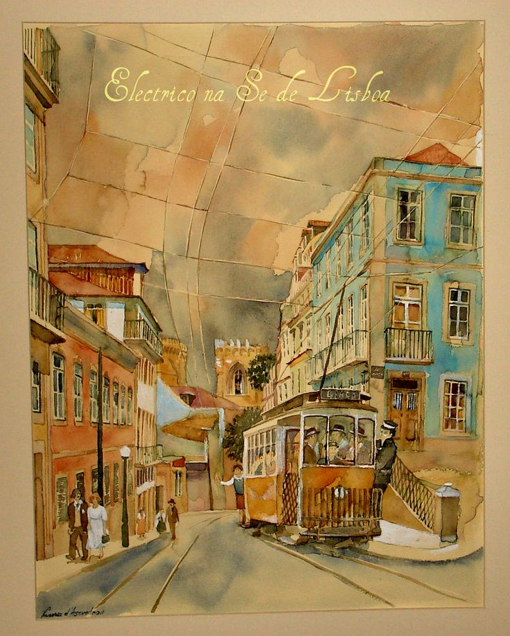 Old tram in the streets of Lisbon Watercolour on paper