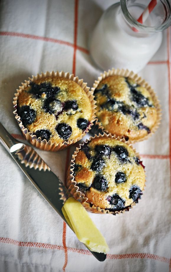 Blueberry muffins  adapted from Cooking with Coconut Flour by Bruce Fife  3 eggs  3 T melted virgin coconut oil  3 T raw honey  1/8 t almond extract  1/4 t sea salt  1/4 C sifted coconut flour  1/4 t baking powder*  1/2 C fresh blueberries*