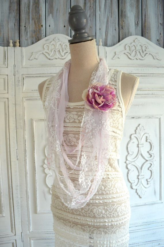 Romantic boho rag bib necklace, gypsy rose statement necklace, cottage, womens fabric necklace, bohemian necklace jewelry, true rebel clot