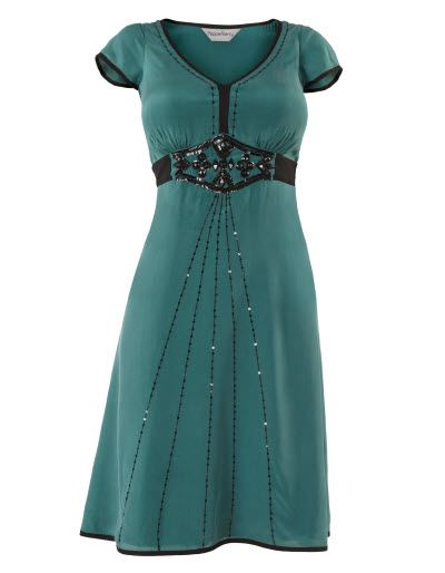 Deco Beaded Silk Dress
