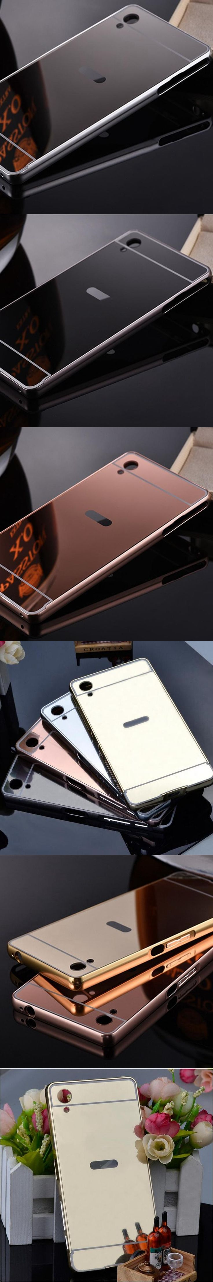 Fundas Experia aqua Cases Luxury Aluminum Metal Frame Mirror Back Cover For Sony Xperia pact