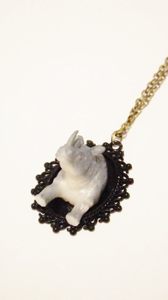 Rhinoceros head necklace, horns, Rhino head, faux taxidermy, vintage style, hipster, boho, mounted animal head/horns, cameo necklace