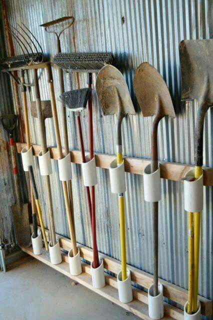 Use Pvc pipe to hang shovel/brooms