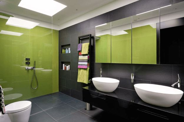 black and lime green modern bathroom, pantone golden lime, chartreuse, white vessel sinks