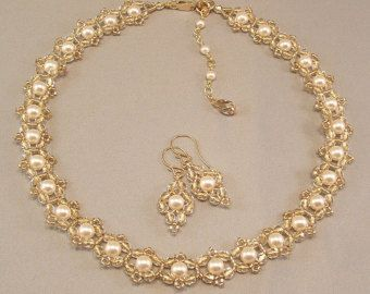 Bridal Choker Necklace, Necklace and Earring Set, Filigree Gold Beading with Cream Pearls, Jewelry Sets, 14k gold flled metal