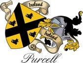 Purcell Irish Sept Coat of Arms from the website  www.4crests.com #coatofarms #familycrest #familycrests #coatsofarms #heraldry #family #genealogy #familyreunion #names #history #medieval #codeofarms #familyshield #shield #crest #clan #badge #tattoo
