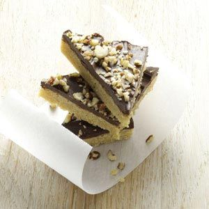 Toffee Triangles Recipe -Add a touch of elegance to cookie trays with these easy nutty bars. They're perfect with coffee, cocoa or tea. —Jeanette Meidal, Savage, Minnesota