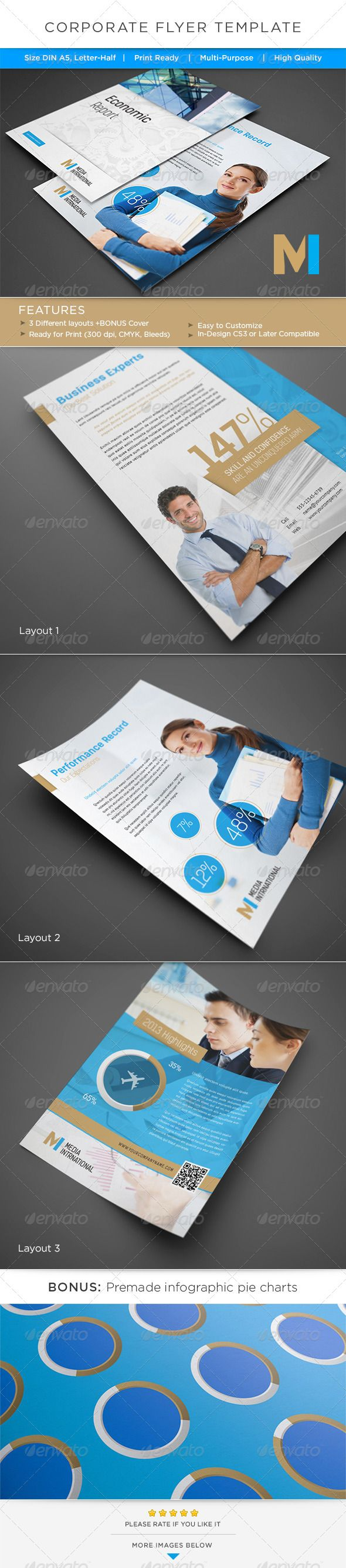 Corporate Flyer / AD Template — InDesign INDD #blue #magazine ad • Available here → https://graphicriver.net/item/corporate-flyer-ad-template/4968062?ref=pxcr