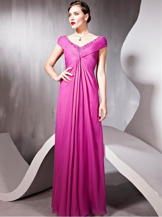 Off-The-Shoulder Beads Tiered Chiffon Fuchsia Formal Dresses UK