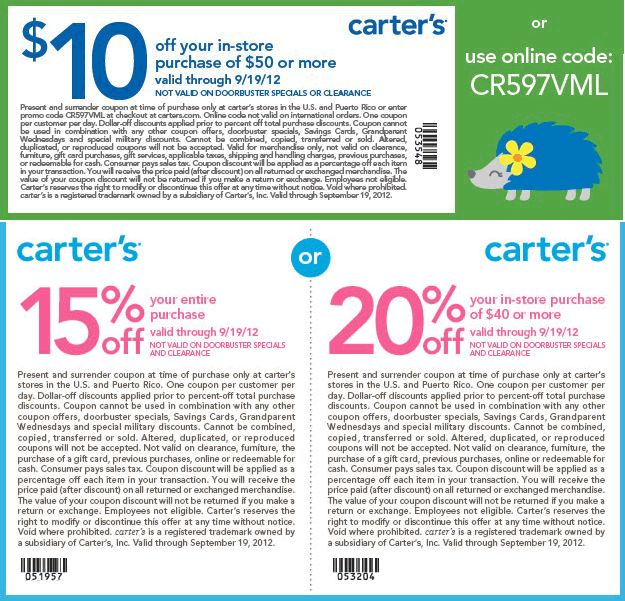 $10 off $50 and more at Carters, or online via checkout promo CR597VML coupon via The Coupons App:  Internet Site,  Website, Web Site, Cr597Vml Coupon, Coupon App