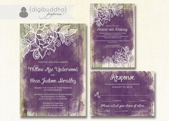 Lace Wood Wedding Invitation 3 Piece Suite Reception Response RSVP Shabby Chic Beach Plum Purple Amethyst DIY Digital or Printed - Willow