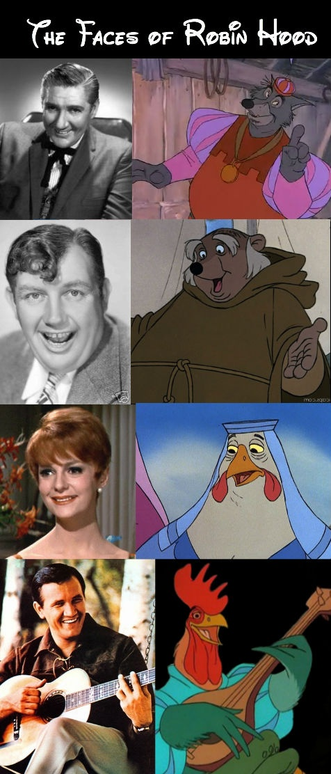 """""""Robin Hood"""" (1973) - Pat Buttram as the Sheriff of Nottingham, Andy Devine as Friar Tuck, Carole Shelley as Lady Kluck, Roger Miller as Alan-a-Dale."""