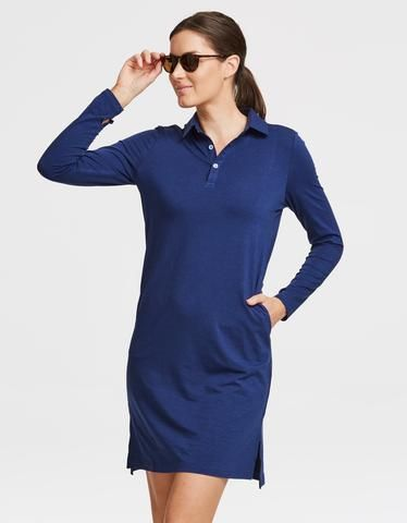 Sun Protective Polo Dress UPF50+ By Solbari Sun Protection in Navy For Women