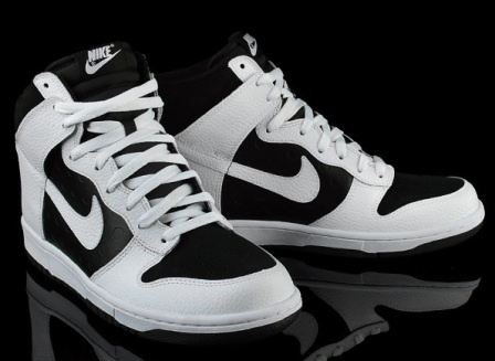 Plain black and white Nike Dunks.... they go with everything : )