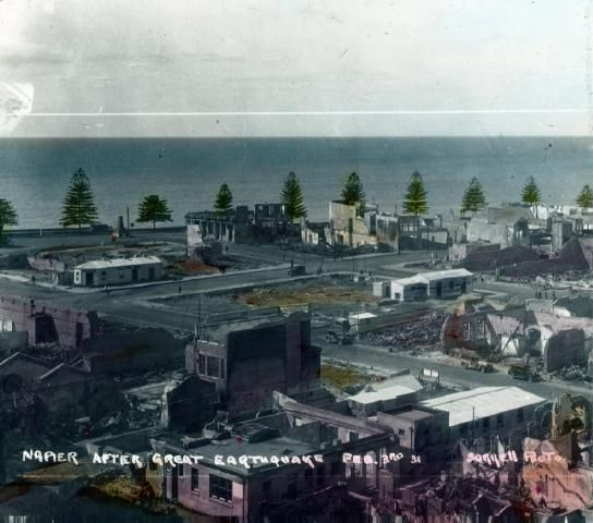 Napier after the great earthquake 70722 The photograph has been taken from Napier hill looking down into the business centre of the town. ...