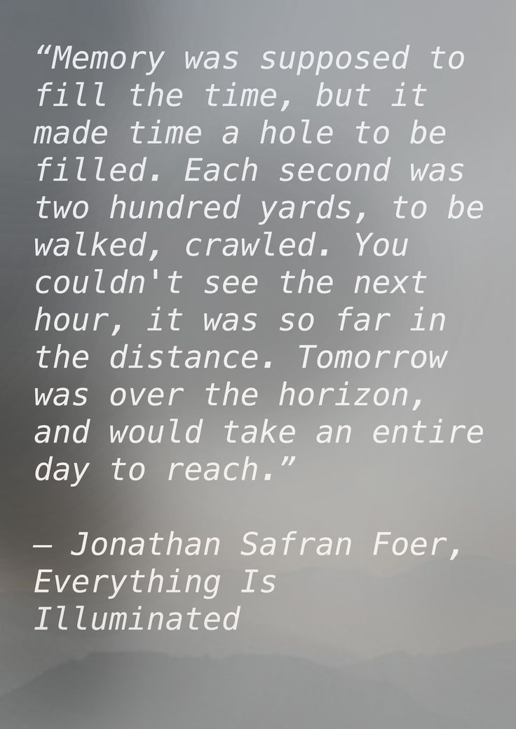 Memory - A quote from Everything is Illuminated - Jonathan Safran Foer I love his writing!