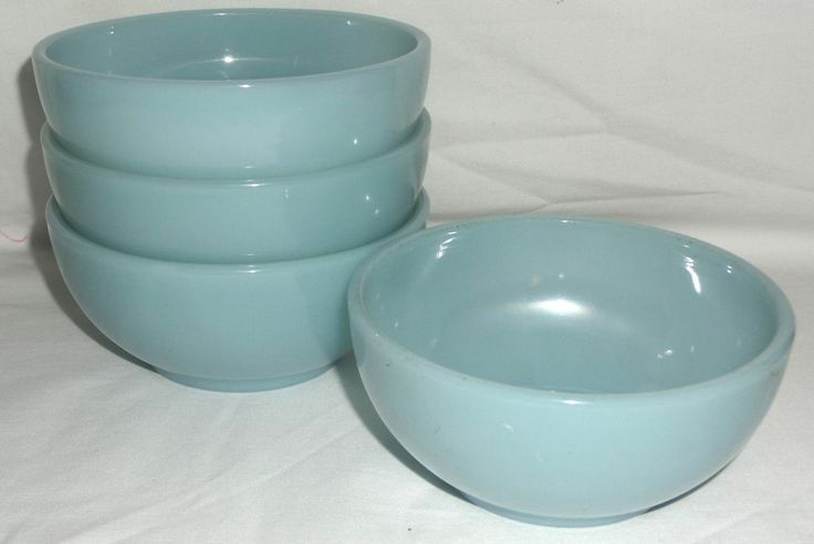 """4 Fire King *TURQUOISE BLUE* 5"""" CHILI BOWLS* MINT*"""