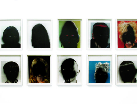 Bad Scene, 2010, enamel  on commercial offset prints, 36x29cm each (85cmx185cm overall), Courtesy of the artist and Prudential Eye Awards
