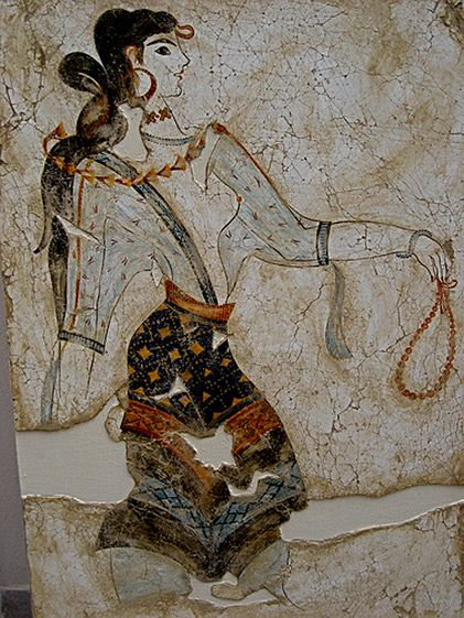 "Minoan maiden with prayer beads, fresco. From around 2700 to 1450 BC, the Minoan civilization flourished as a seafaring and mercantile culture. This vibrant culture was centred around the island of Crete and eventually dominated the Agean region. The Egyptians called the Minoans ""the Sea Peoples"" and had a fond appreciation for Minoan pottery and ceramics, prized for their innovative shapes and sea-inspired designs"